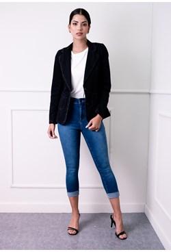 Blazer Ajustado Jeans Liso com Botões