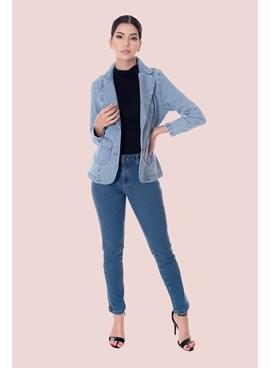 Blazer Jeans Liso com Bolsos