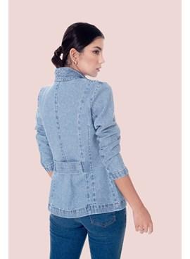 Blazer Slim em Jeans Liso