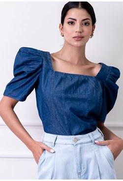Blusa Jeans Lisa Manga Bufante