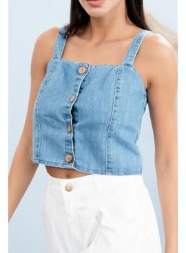 Blusa Regata Cropped em Jeans Liso