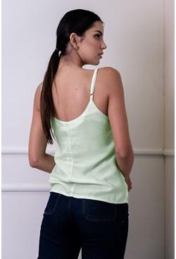 Blusa Regata Lisa com Alça Fina Verde Claro