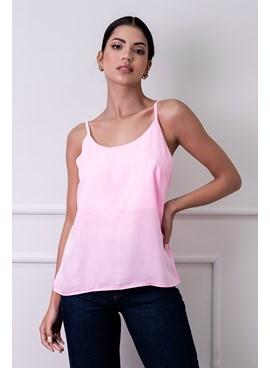 Blusa regata rosa em liocel com alças finas reguláveis