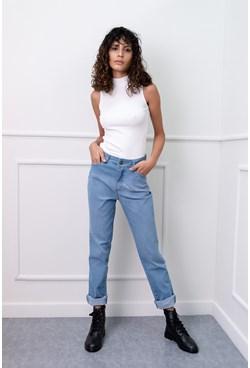 Calça Jeans Reta Básica Azul Claro