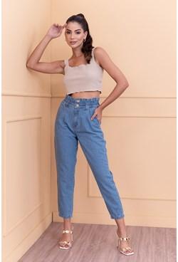 Calça Jeans Slouchy com Elástico na Cintura