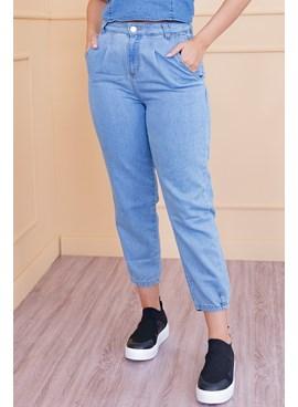 Calça Jeans Slouchy com Pregas