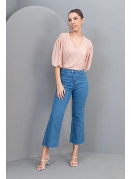 Calça Jeans Wide Leg Cropped Barra Desfiada