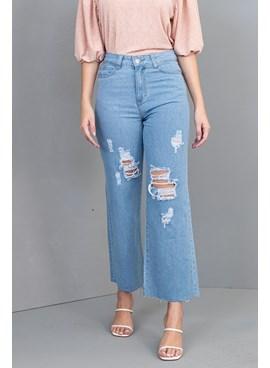 Calça Jeans Wide Leg Cropped com Rasgos