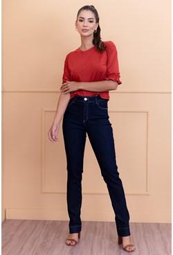 Calça Reta em Jeans Lisa