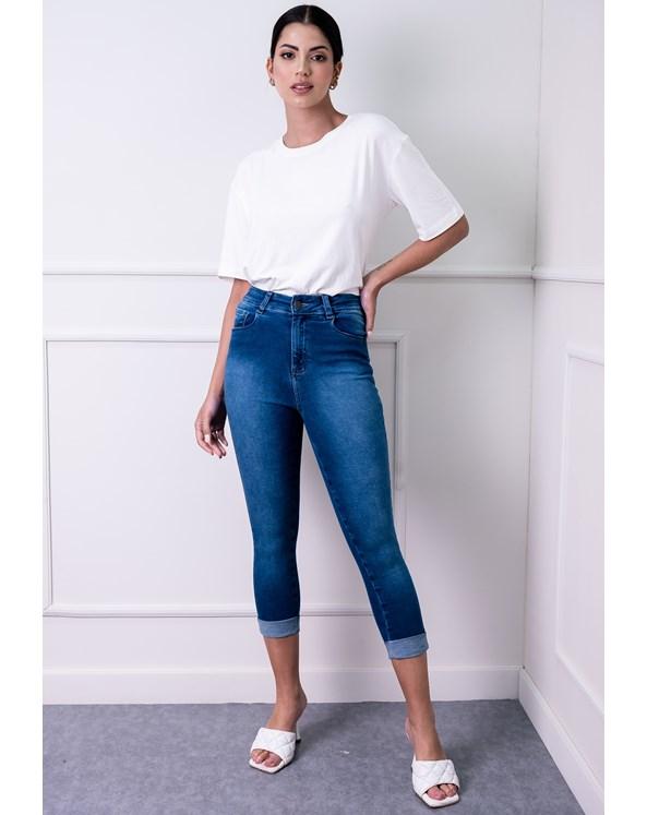 Calça Skinny Jeans com Barra Virada
