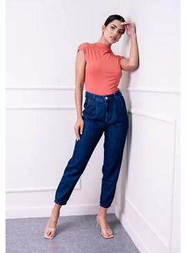 Calça Slouchy Jeans com Pregas e Bolsos