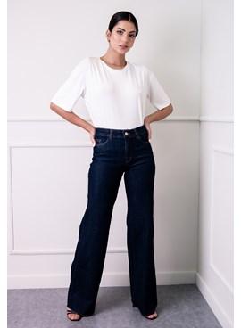 Calça Wide Leg em Jeans Lisa Azul com Barra Cortada a Fio