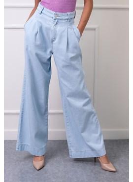 Calça Wide Leg Jeans Lisa com Pregas