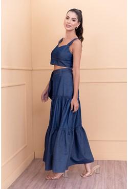 Conjunto Saia Longa e Cropped Jeans