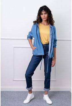 Jaqueta Bomber em Jeans com Bolsos e Capuz