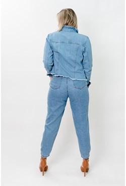 Jaqueta Jeans Lisa com Botões Forrados e Barra Desfiada