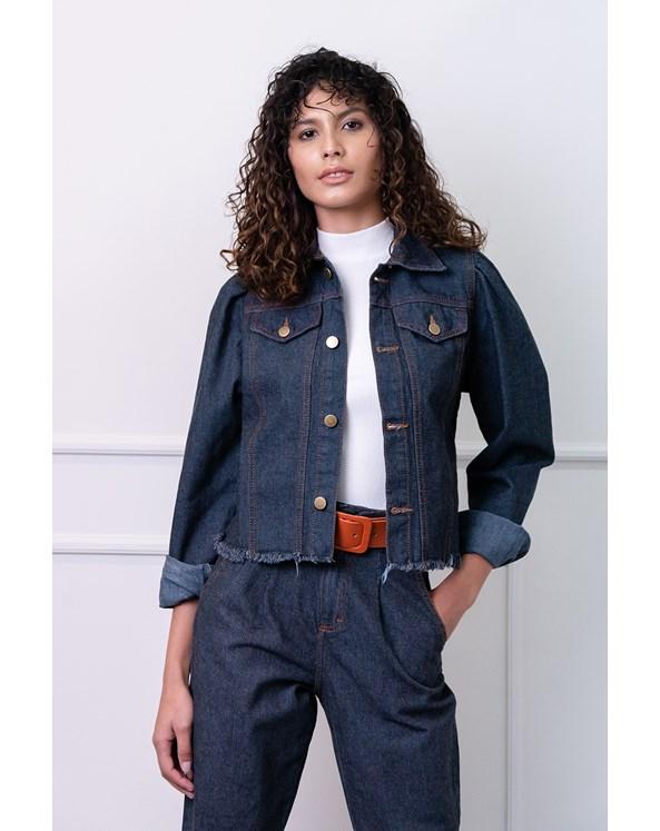 Jaqueta Jeans Lisa com Manga Bufante e Barra Desfiada