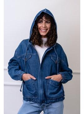 Jaqueta Parka em Jeans com Zíper Frontal e Capuz