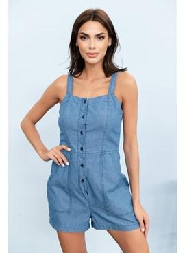 Macacão Curto Jeans com Alça Larga