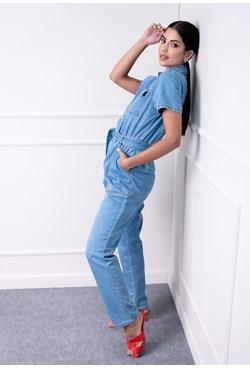 Macacão Longo em Jeans Liso com Manga Curta