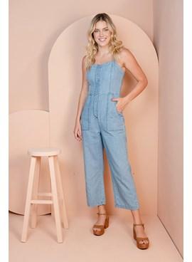 Macacão Longo Jeans com Alças Largas