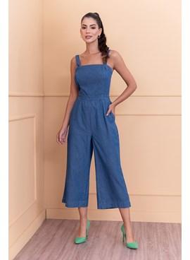 Macacão Pantacourt Jeans Liso com Alça Larga Azul Escuro