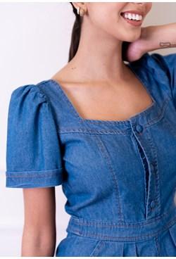 Macaquinho Manga Bufante Curto Jeans