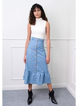 Saia Jeans Midi com Botões e Babados