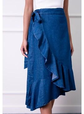 Saia Jeans Midi Envelope