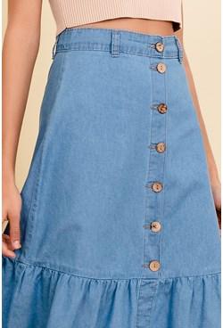 Saia Midi em Jeans Lisa com Botões