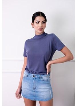 Short Saia Jeans com Puído Azul Claro