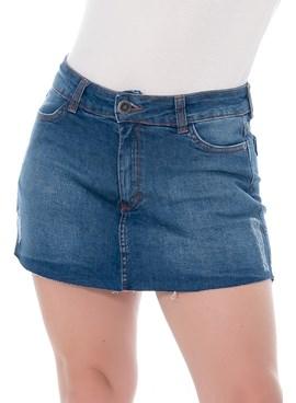 Short Saia Jeans com Puído Azul Escuro