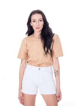 Shorts Cintura Alta em Sarja Liso