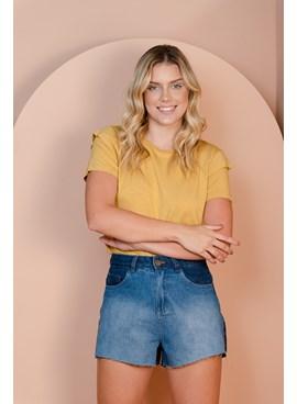 Shorts Curto Jeans Cintura Alta Jeans Bicolor