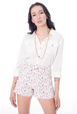 Shorts de Cintura Alta Estampa Floral