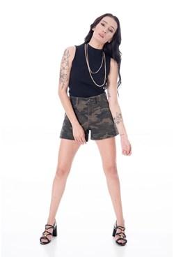 Shorts em Sarja de Cintura Alta Estampa Camuflado