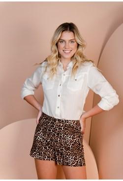 Shorts em Sarja Estampa Animal Print