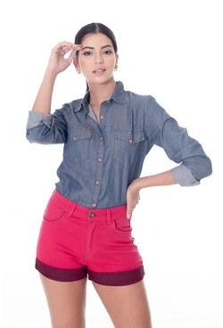 Shorts em Sarja Rosa