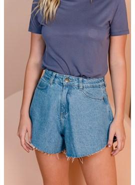 Shorts Jeans Amplo Barra Desfiada