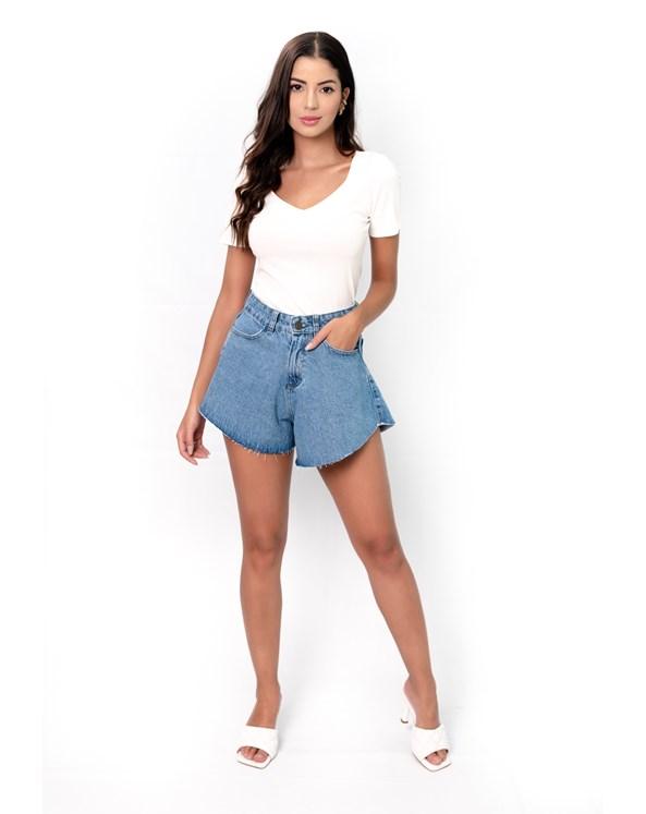 Shorts Jeans Liso Godê Cintura Alta Azul Médio