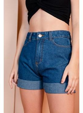 Shorts Jeans Meia Coxa com Barra Dobrada
