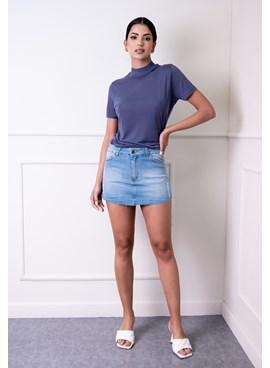 Shorts Saia Jeans com Puído Azul Claro