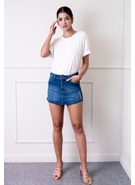 Shorts Saia Jeans com Puído Azul Escuro