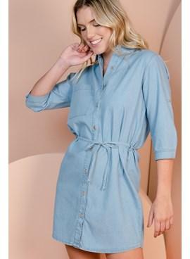 Vestido Chemise Jeans Curto com Amarração na Cintura