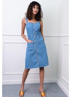 Vestido Curto em Jeans Liso com Alça Larga