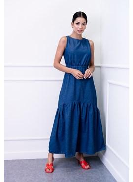 Vestido Jeans Longo Sem Manga Azul