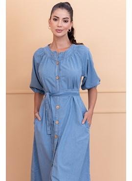 Vestido Jeans Midi com Cinto Faixa e Bolsos