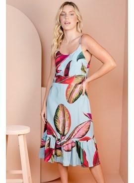 Vestido Midi em Viscose Estampa Floral