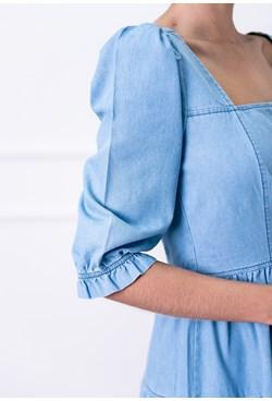 Vestido Midi Jeans com Mangas Bufantes e Babados na Saia
